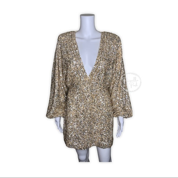 NWT RETROFÊTE Aubrielle sequined mini dress gold