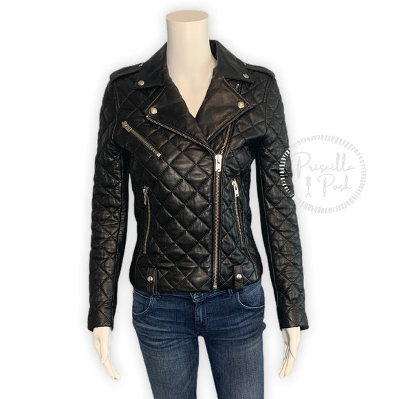 IRO Keroa Leather Jacket Moto Quilted Biker Jacket