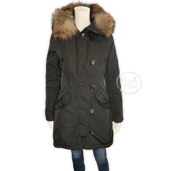 Moncler Aredhel Giubbotto Fur-Trimmed Down Coat