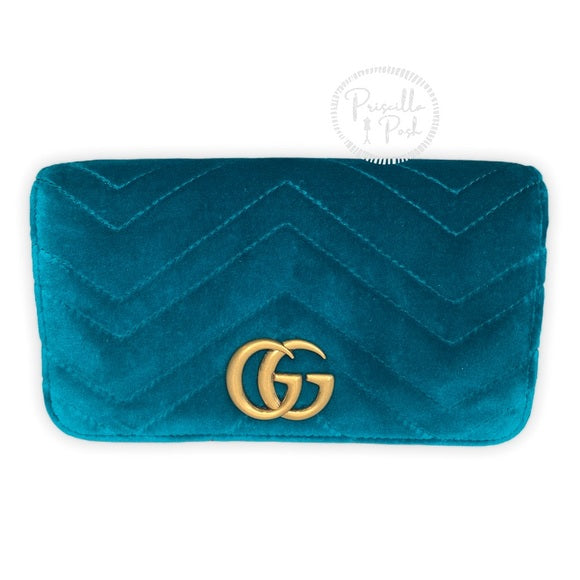 NEW GUCCI Marmont GG Velvet Mini Bag Teal