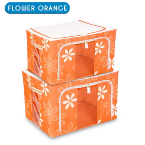Fabric Storage Boxes for Clothes, Sarees, Bed Sheets, Blanket etc. - 2 BOXES + 1 BOX FREE (TOTAL 3PC)
