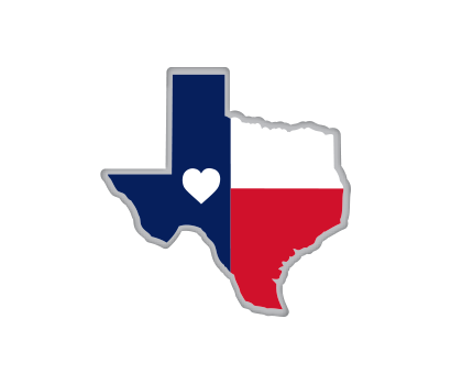 Texas Flag Map w/ Heart - D-TFMH