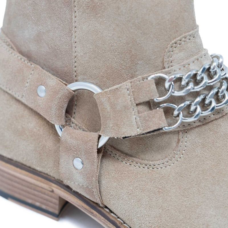 Walk London Russel Chain Cuban Boot in Stone Suede