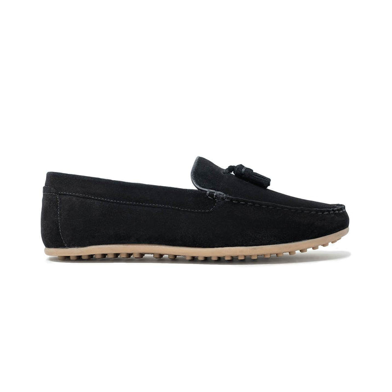 Mens Driving Shoes: Walk London Albert Drivers in Black Suede