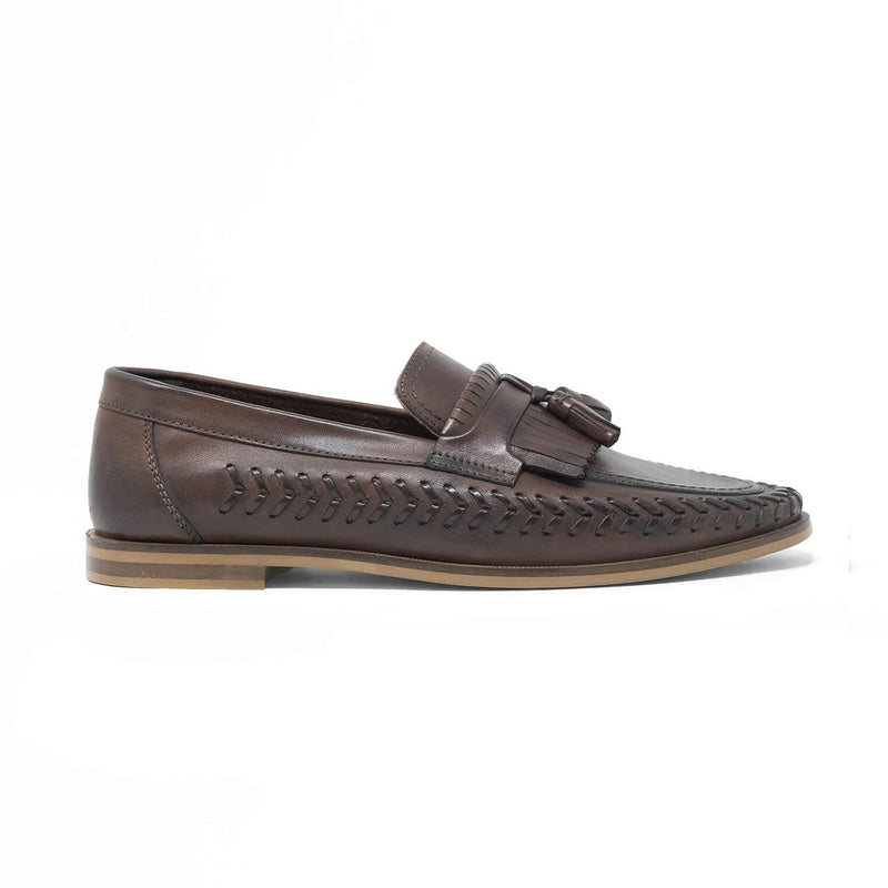 Walk London Arrow Loafers in Brown Leather
