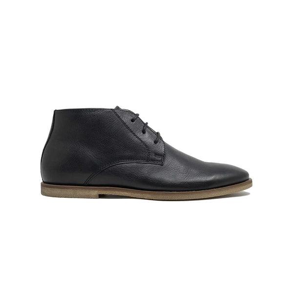 WALK London Danny Leather Chukka Boot in Black Leather
