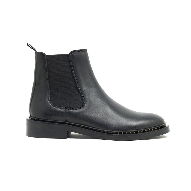 Walk London Darcy Chelsea Boot in Black Leather, Side Profile Shot