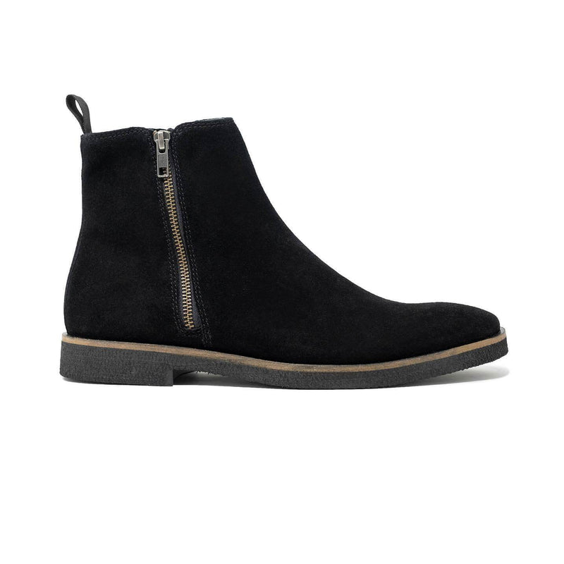 Walk London Hornchurch Zip Up Boot in Black Suede