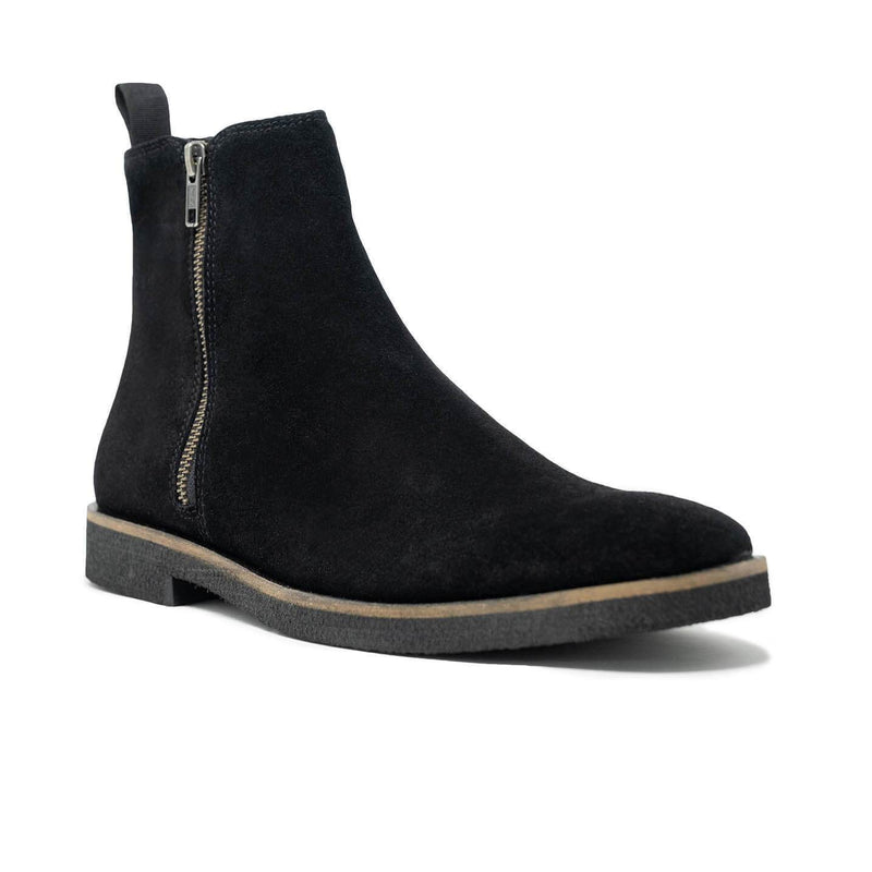 Black Suede Zip Up Boot