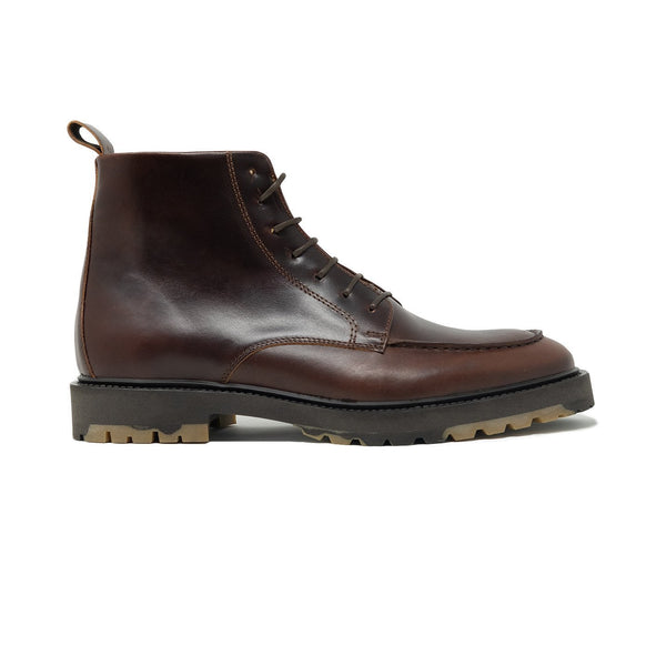 Walk London James Apron Boot in Brown Pull-up Leather, Side Profile Shot