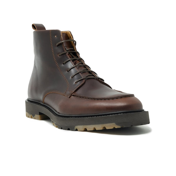Walk London James Apron Boot in Brown Pull-up Leather, Angle Shot