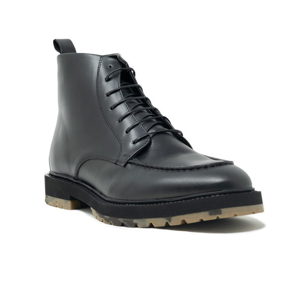 Walk London James Apron Boot in Black Pull-up Leather, Angle Shot