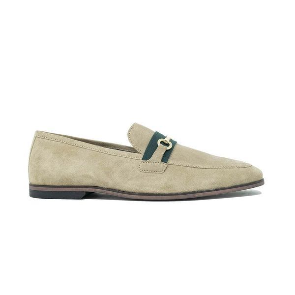 Walk London Raphael Bar Loafers in Stone Suede