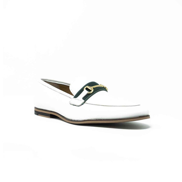 WALK London Raphael Trim Loafer White Leather Green Tape