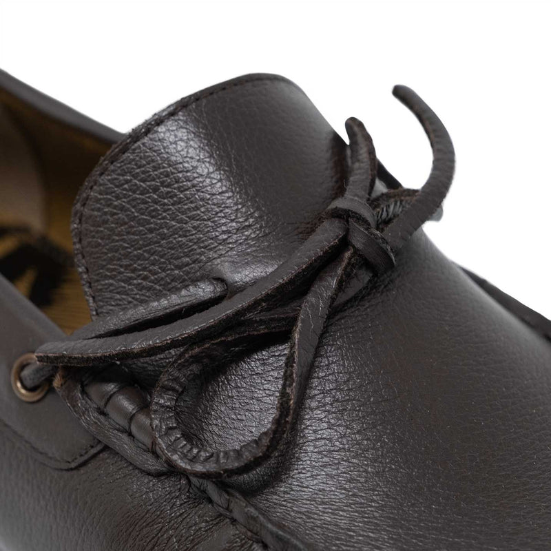 Leather Front Lace on the Brown Leather Santino Driver Shoe