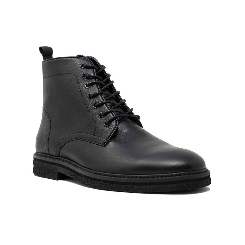 WALK London Slick Lace Up Boot Black Leather