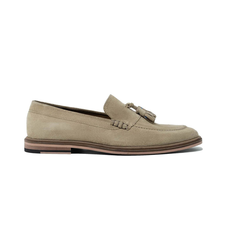 Walk London West Tassel Loafer in Stone Suede