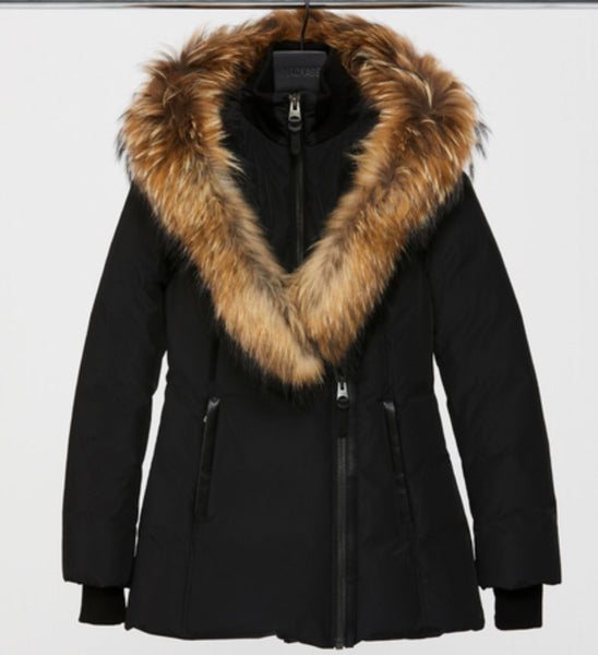 Mackage  - ADALI-F5 FITTED DOWN COAT WITH FUR HOOD - RIME