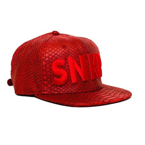 SNKR HEAD Premium All Red Python Hat (Strapback)