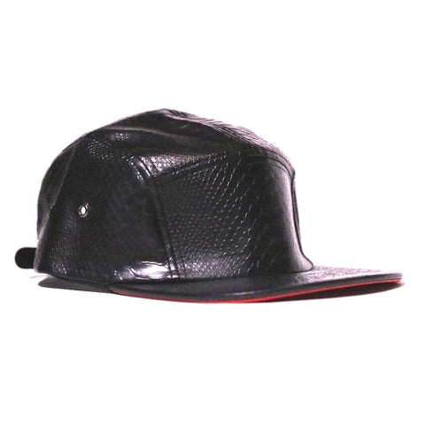 SNKR HEAD Black Python 5 Panel with Red Leather Brim Hat (Strapback)