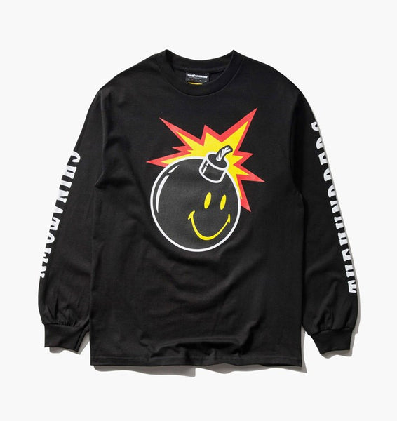 THE HUNDREDS - THE HUNDREDS X CHINATOWN MARKET SMILEY ADAM LS T-SHIRT [L18W201042BLK] - RIME