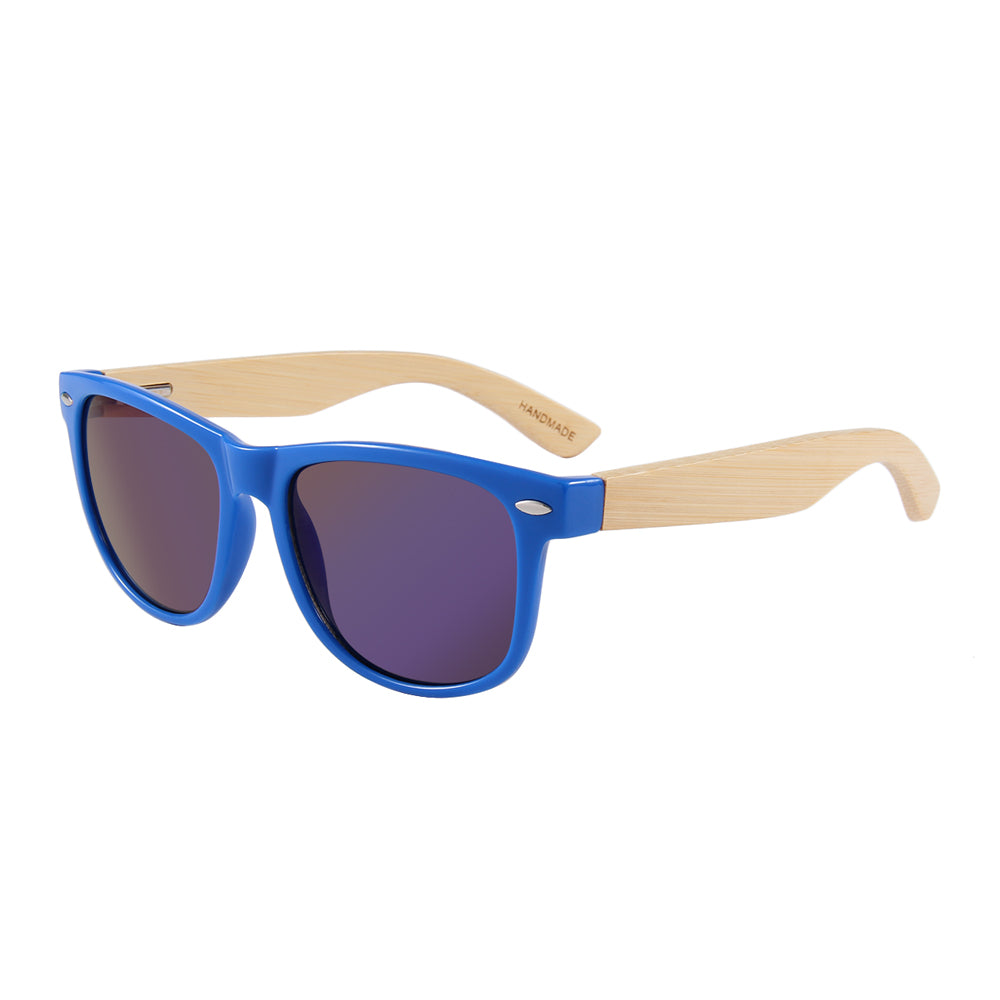 Zegami Men - Premium Wooden Sunglasses with Wooden Case Light Blue Classic Wayfarer Dark Wood