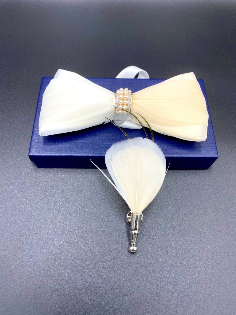 Pink & White Feather Bow Tie with Brooch [ZEGAMI MEN]