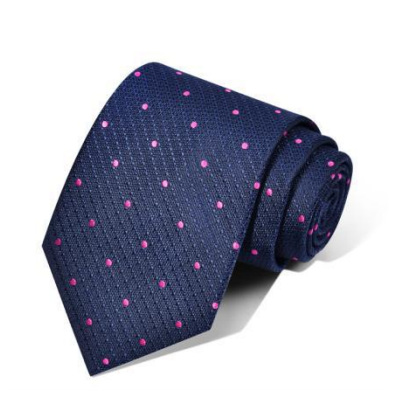 "Zegami Men Tie ""Navy Blue Pink Polka Dots"""
