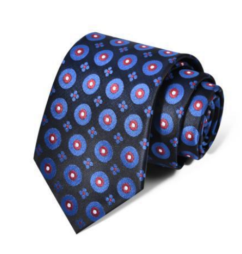 "Zegami Men Tie ""Navy Blue Pink Dots"""