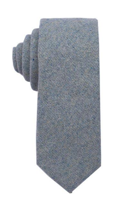 Light Aqua Grey Basketweave Wool Tie