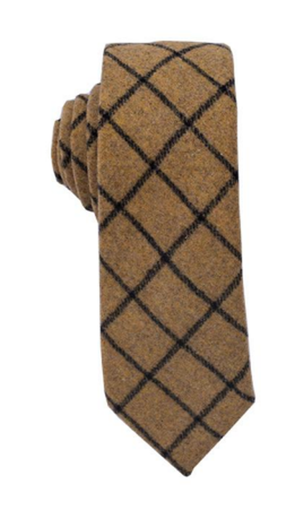 Camel Wool with Black Check Design