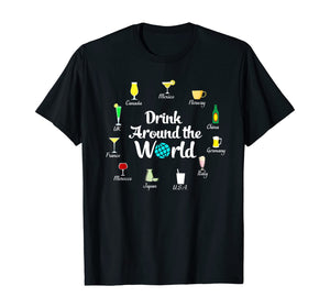 Alcohol T Shirt Funny Gift Men Women Drink Around The World