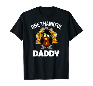 Mens One Thankful Daddy Fall Autumn For Dad Thanksgiving T-Shirt