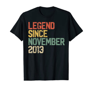 Legend Since November 2013 6th Birthday Gift 6 Year Old T-Shirt