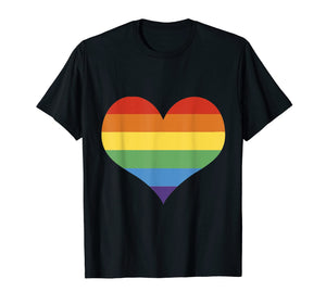 LGBT Pride Shirt Rainbow Flag Heart Love T-Shirt