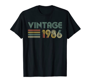 Retro Vintage 1986 TShirt 33rd Birthday Gifts 33 Years Old