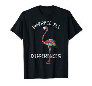 Embrace Differences Puzzle Flamingo Autism Awareness Tshirt
