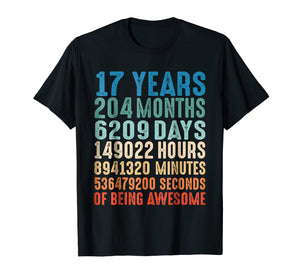 17 Years Old 17th Birthday Vintage Retro T Shirt 204 Months