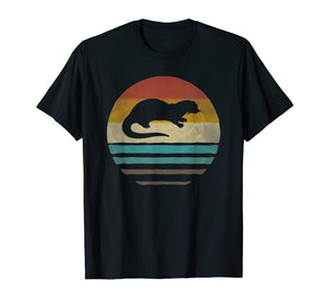 Sea Otter Shirt Retro Vintage 70s Silhouette Distressed Gift