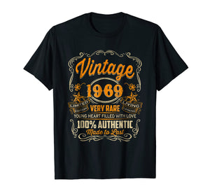 Vintage 1969 Heart Filled Love 50th Birthday T-Shirt Gift