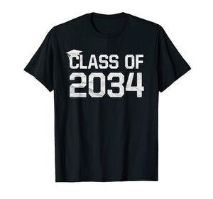 Class Of 2034 Grow With Me Graduation First Day Of School T-Shirt