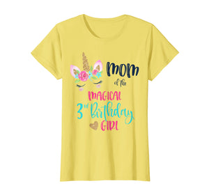 Womens Unicorn Mom of the 3rd Birthday Girl Shirt Matching Daughter