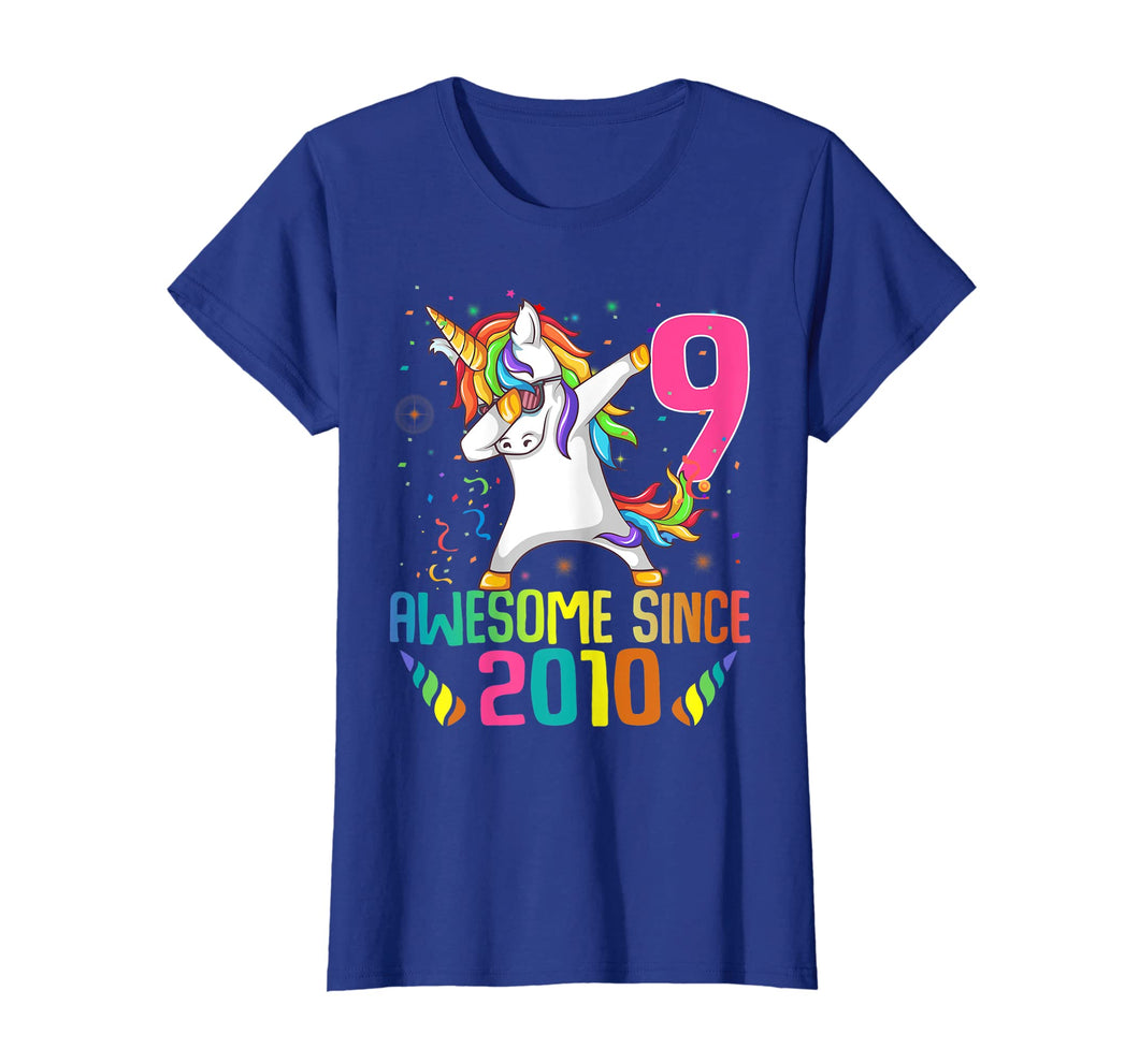 9 Years Old 9th Birthday Unicorn Dabbing Shirt Girl Party
