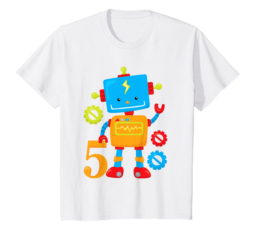 Kids 5th Birthday Robot Gears Party Gift T-Shirt