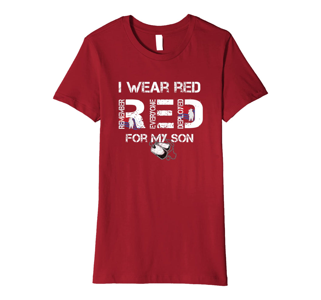 Red Friday Military Mom Shirt Women's I Wear Red For My Son