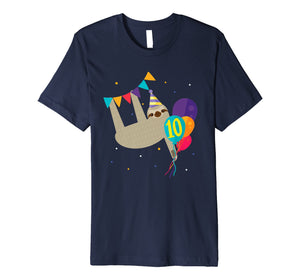 Sloth 10th Birthday Party Funny Gift T shirt for 10 Year Old