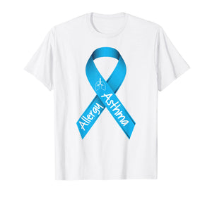 Asthma and Allergies Light Blue Awareness Ribbon T Shirt