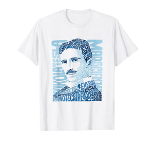 Nikola Tesla Illustration T-shirt by Glitschika Designs