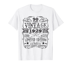 Made In 1929 90 Years Old Vintage 90th Birthday Gift T-Shirt
