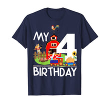 Load image into Gallery viewer, 4th Birthday Farm Birthday Train Party Cow Pig Horse Chicken T-Shirt